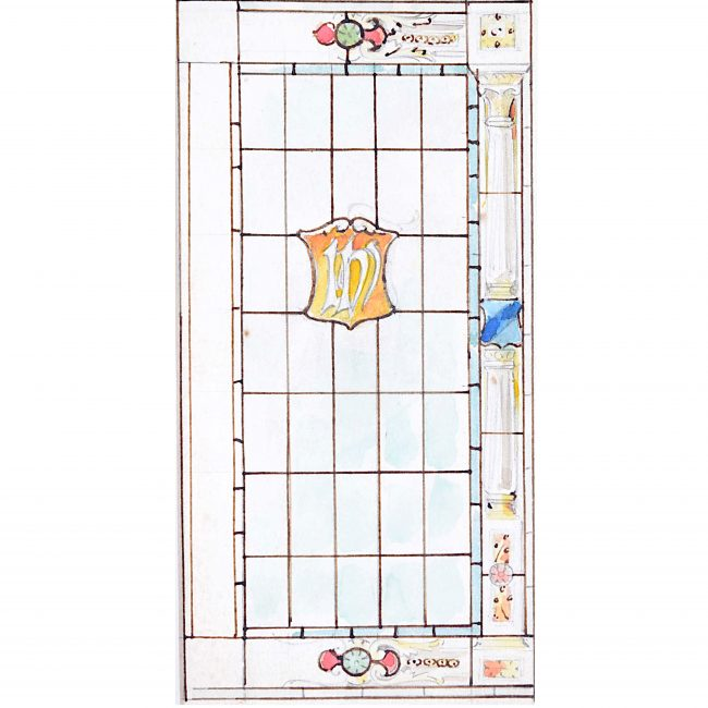 TW Camm 'IHS' Church Stained Glass Window Design Florence Camm Arts & Crafts