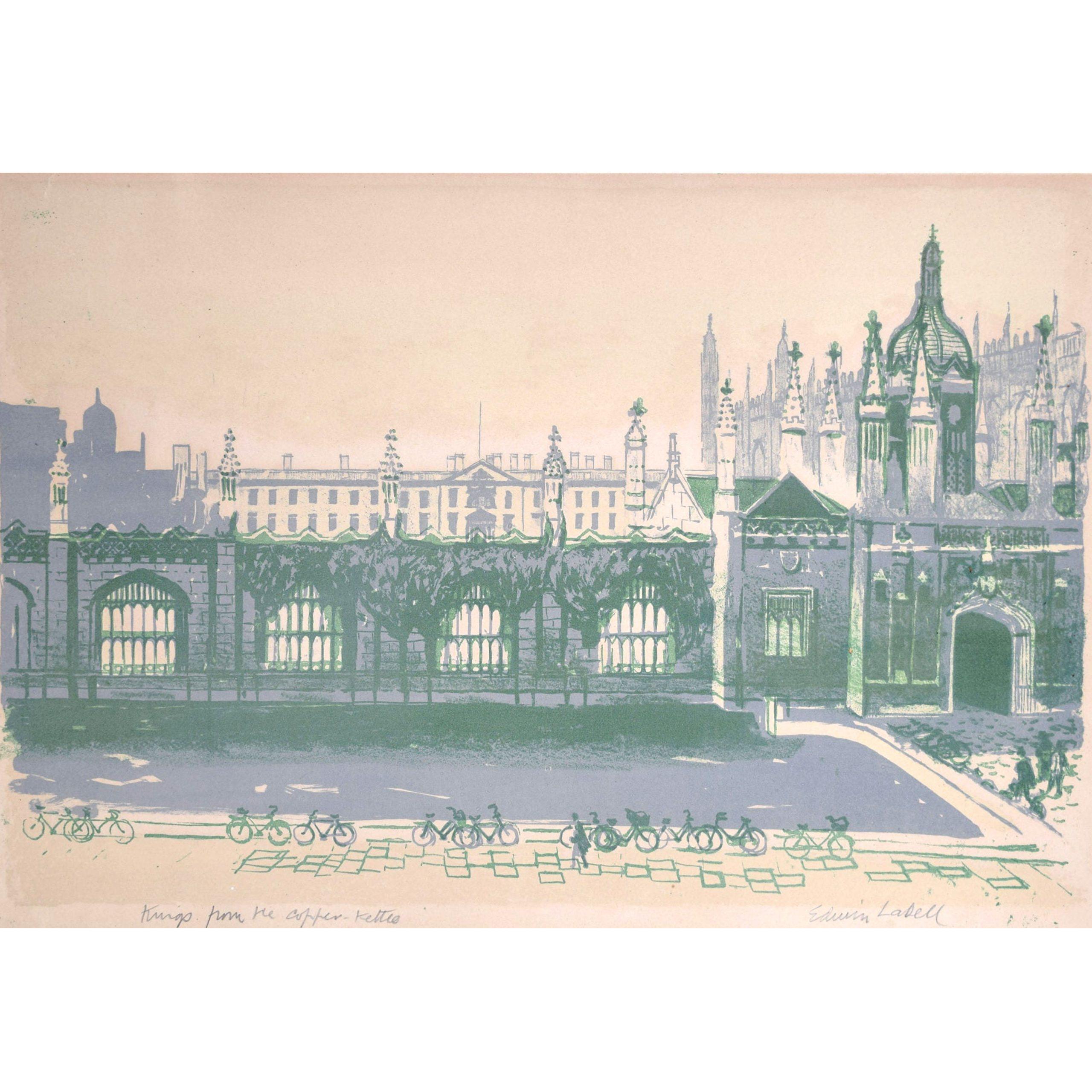 Edwin La Dell Cambridge King's College from Copper Kettle Signed Lithograph