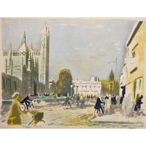 Edwin La Dell King's Parade Cambridge Signed Lithograph print College Senate Ho.