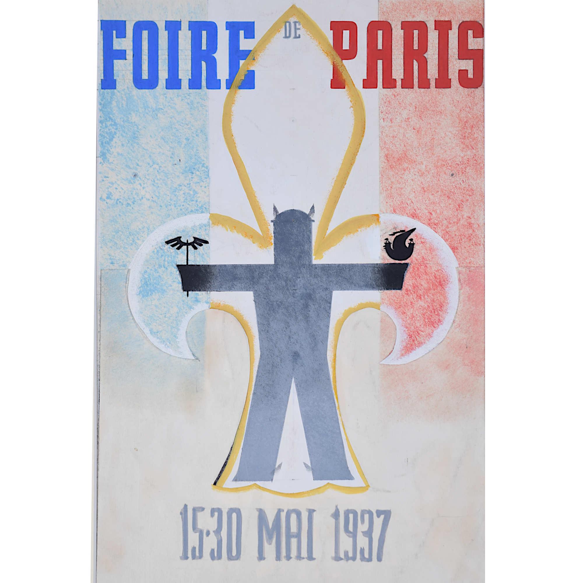 Foire de Paris 1937 advertising poster design gouache Art Deco Tricolore