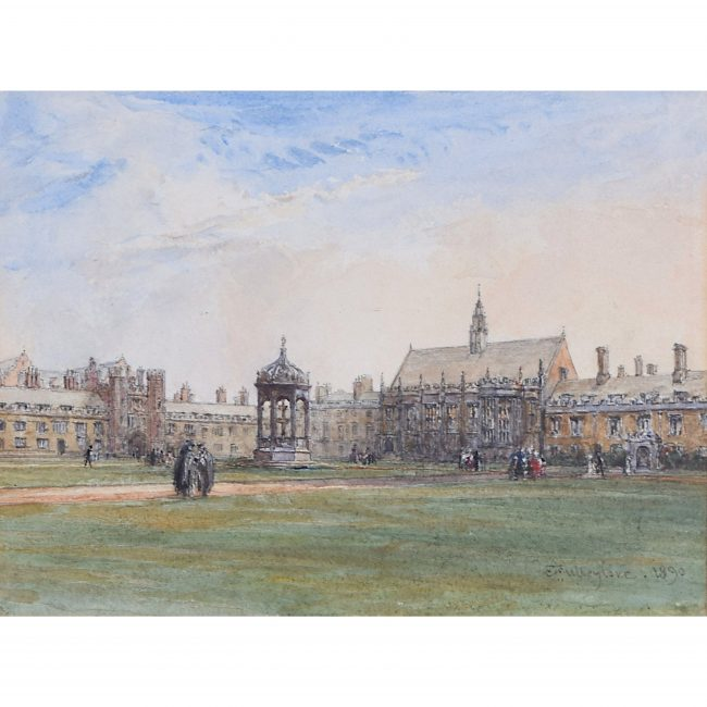 John Fulleylove Trinity College Great Court, Cambridge 1890 watercolour