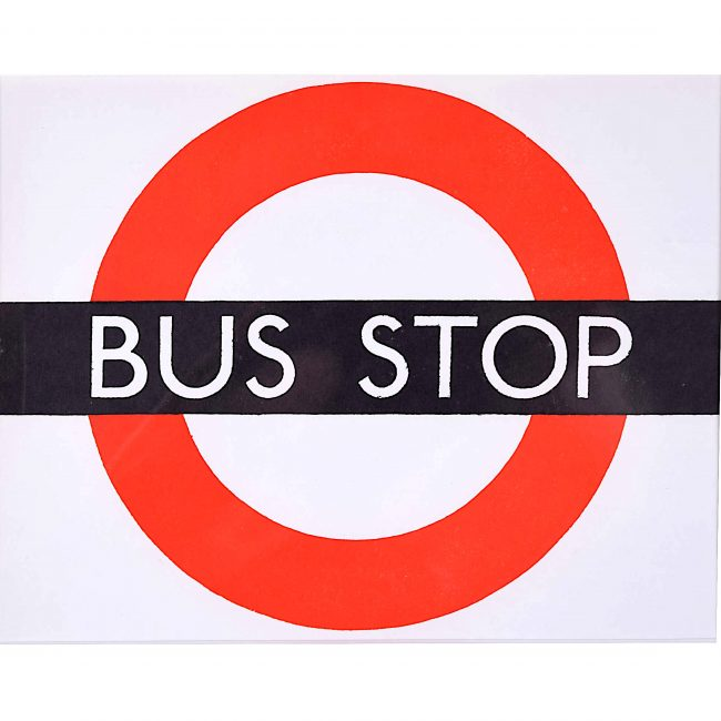 Hans Schleger 'Zero' London Transport Bus Stop c. 1970 Original Poster