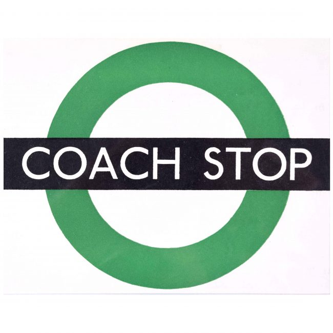 Hans Schleger 'Zero' London Transport Coach Stop c. 1970 Original Poster