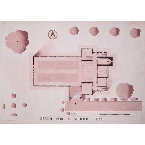 Design for Modernist School Chapel architectural drawing Mid Century Modern