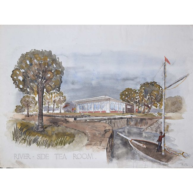 Design for Riverside Tearoom architectural drawing Mid Century Modern