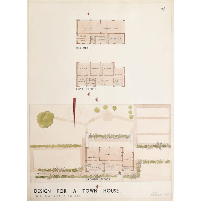 Design for Modernist Game Keeper Lodge architectural drawing Mid Century Modern