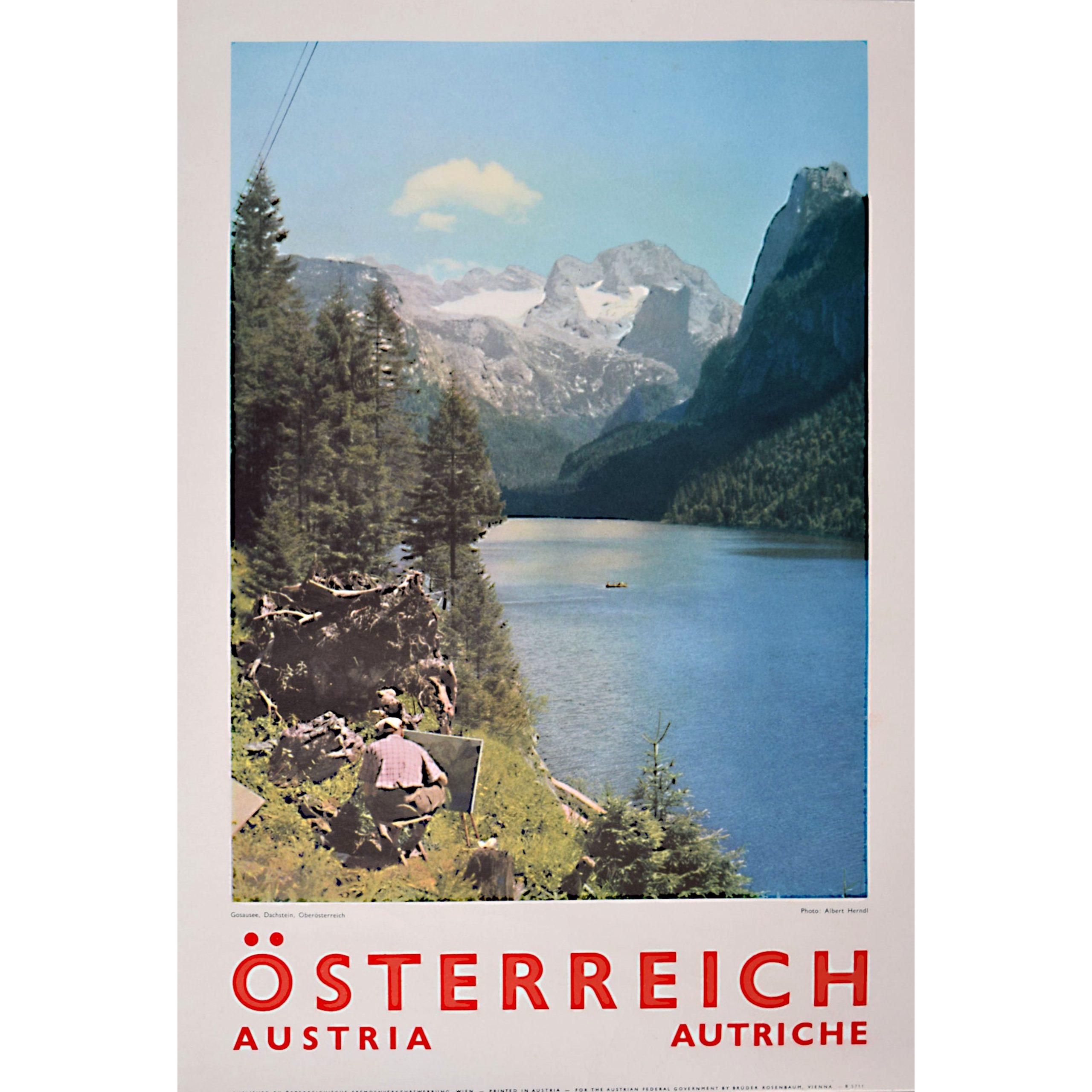 Original Austria Photographic Travel Poster Gosaussee Dachstein