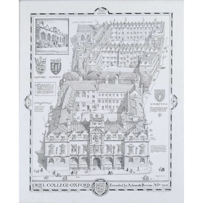 Oriel College Oxford Hort New/Emery Walker 1919 photogravure print after Loggan