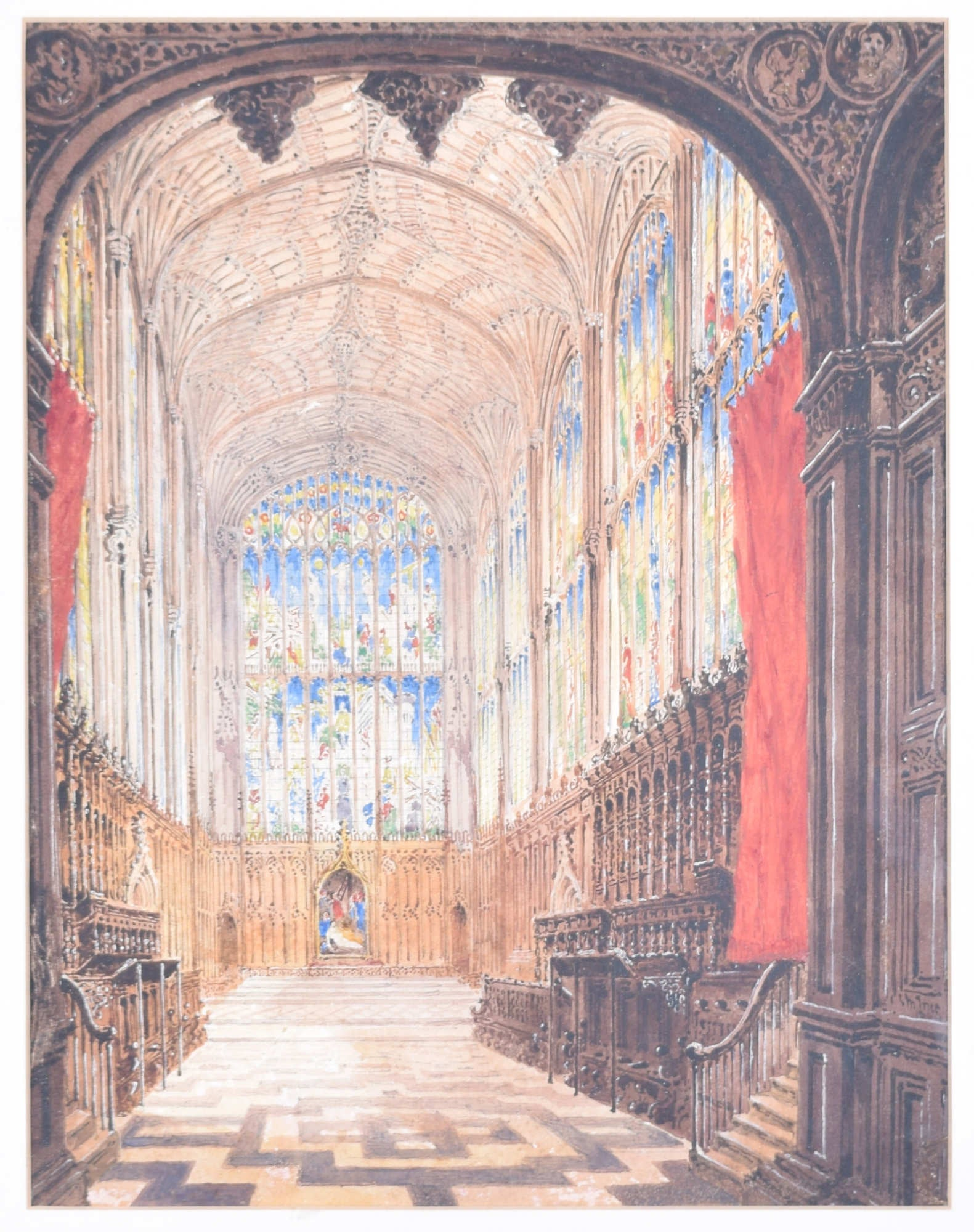 King's College Chapel Cambridge 1844 watercolour Joseph Murray Ince
