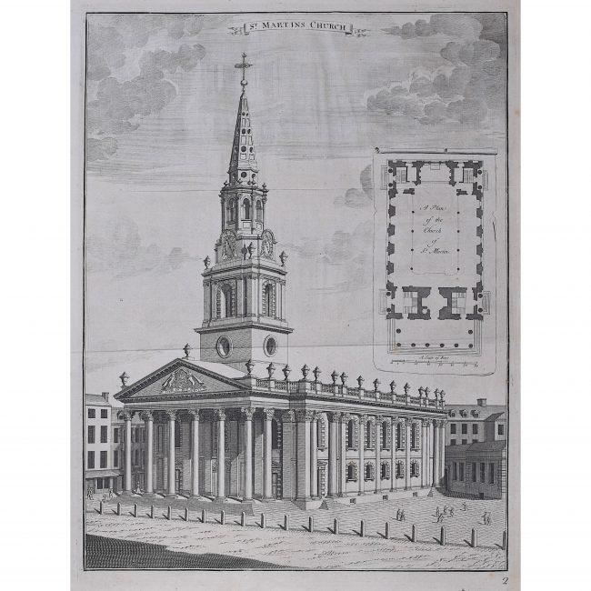 Johannes Kip St Martin in the Fields Church engraving London Trafalgar Square