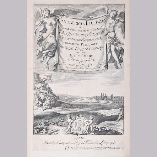 David Loggan Cambridge View Frontispiece Cantabrigia engraving 1715