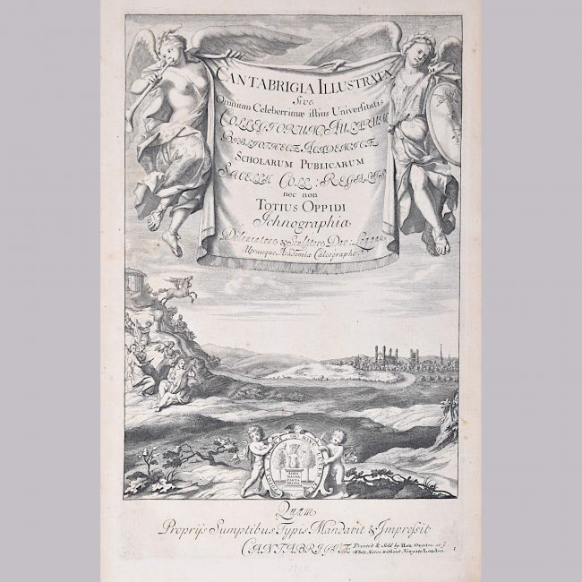David Loggan Cambridge View Frontispiece Cantabrigia engraving 1715