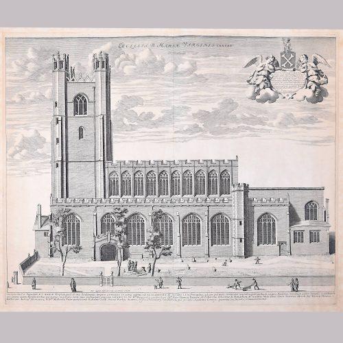 David Loggan Great St Mary's Church Cambridge University engraving 1690
