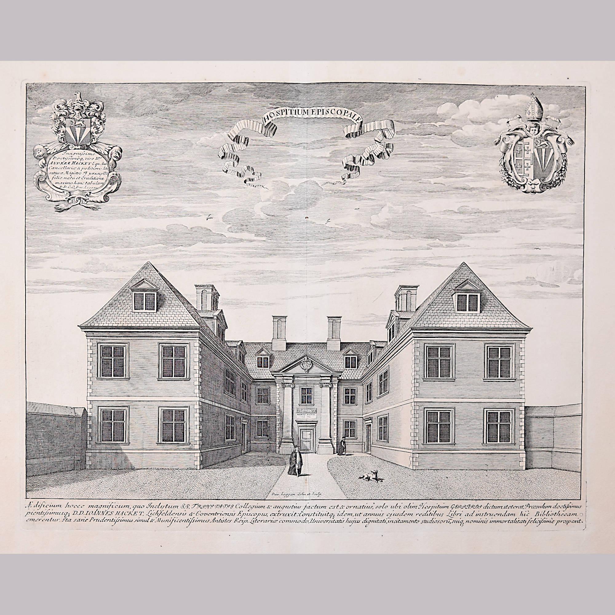 David Loggan Trinity College Cambridge Bishop's Hostel engraving 1690