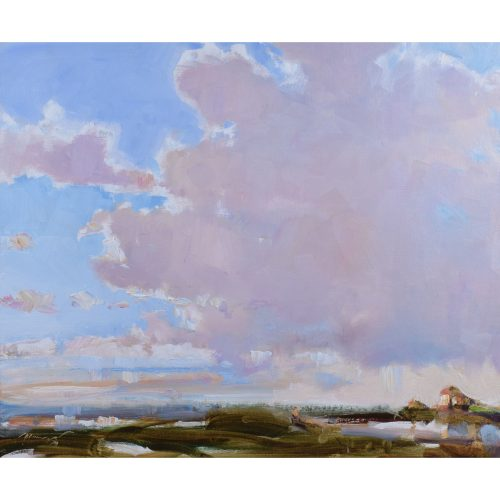 Ken Moroney The Fens Norfolk England Oil on Canvasboard painting art skies