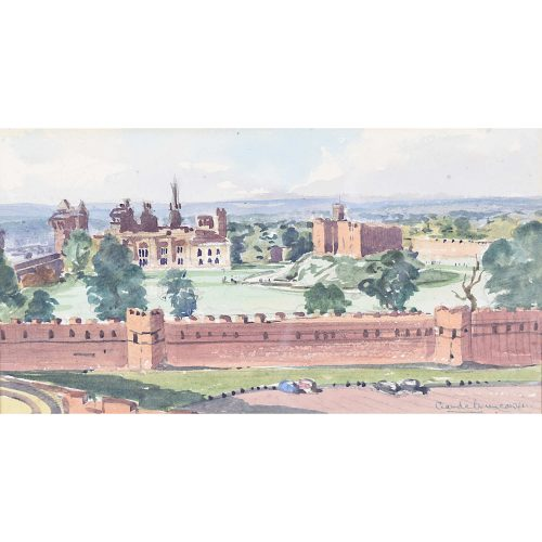 Claude Muncaster Cardiff Castle Wales Watercolour painting