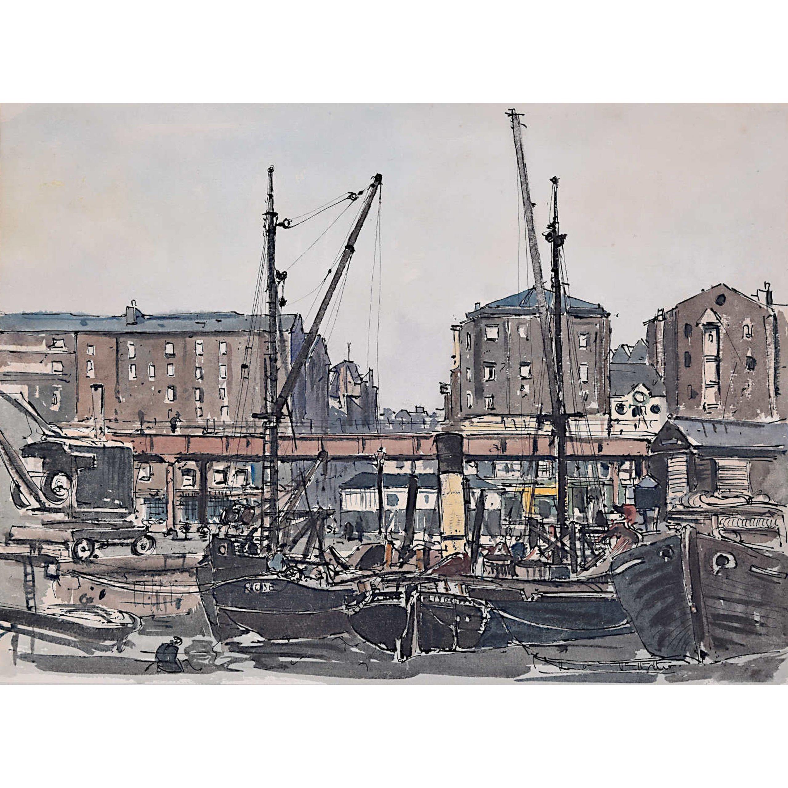 Claude Muncaster Liverpool Docks Watercolour Maritime Art shipping Great Britain