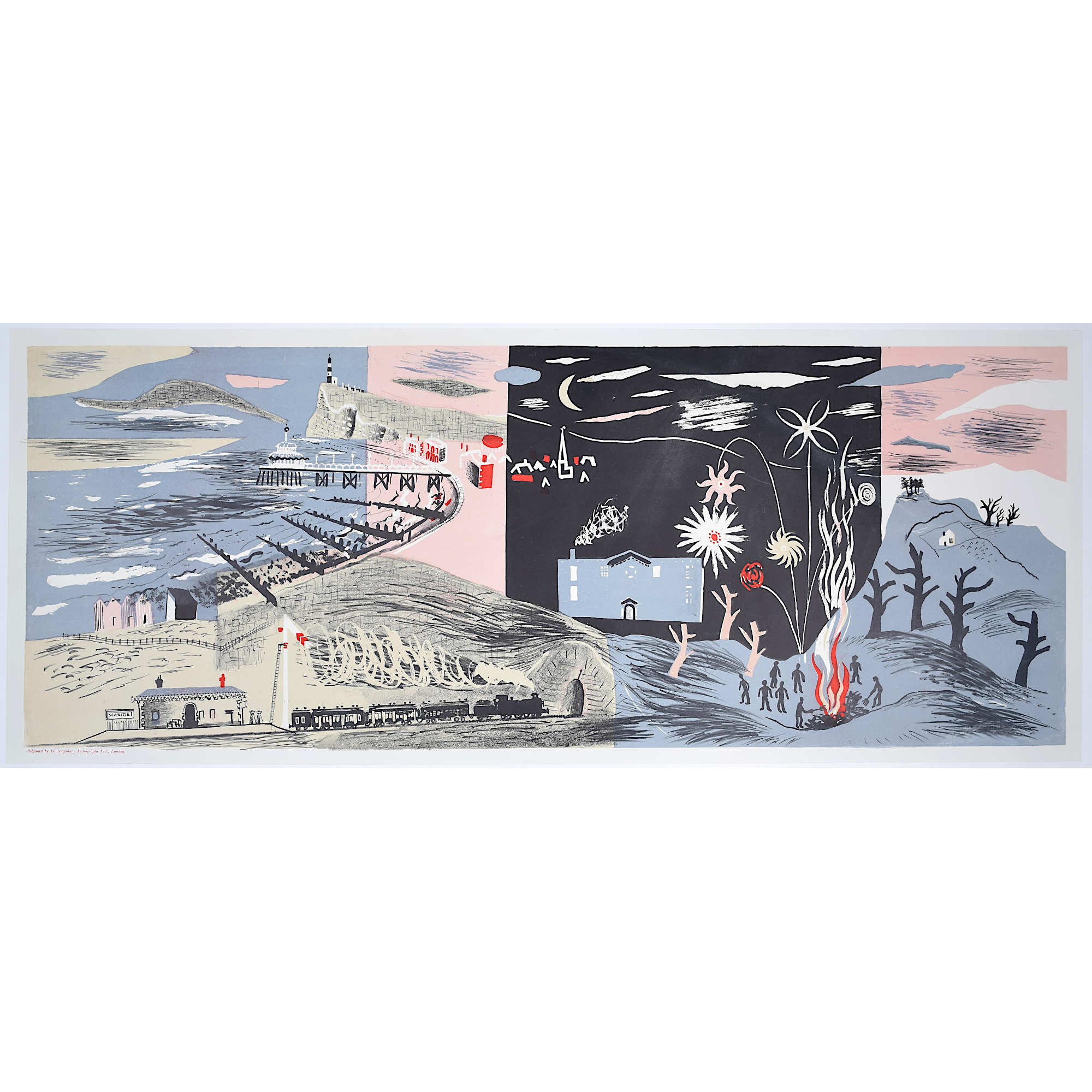 John Piper, Nursery Frieze II, Lithograph Modern British Art Surrealist Beach