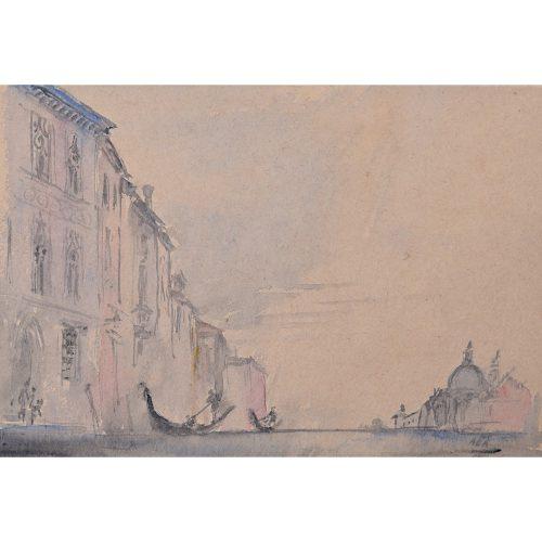 Prof Sir Albert Richardson PRA Architect Venice watercolour Grand Canal