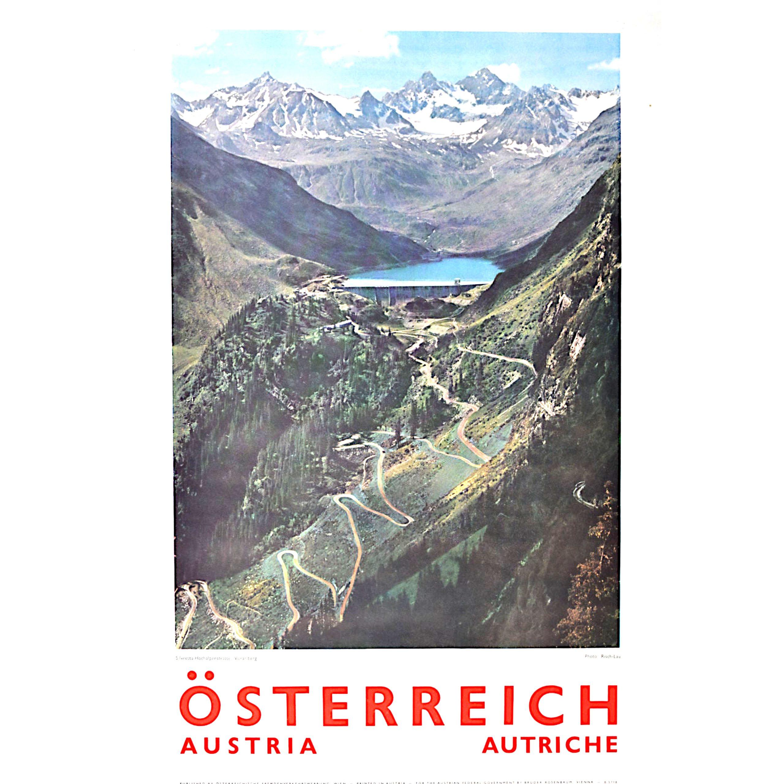 Original Austria Photographic Travel Poster Voralberg Alps Skiing Silvretta