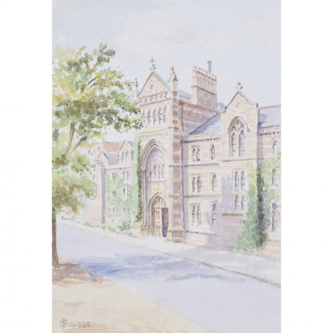 J Sawyer Keble College Oxford Watercolour mid-20th century