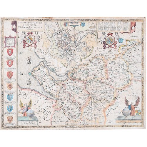 John Speede Map The Countye Palatine of Chester with that most ancient citie