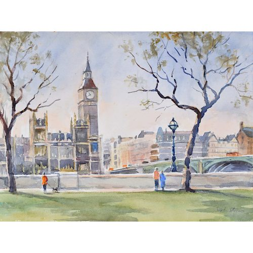 Westminster Bridge and Houses of Parliament, London watercolour Angela Stones