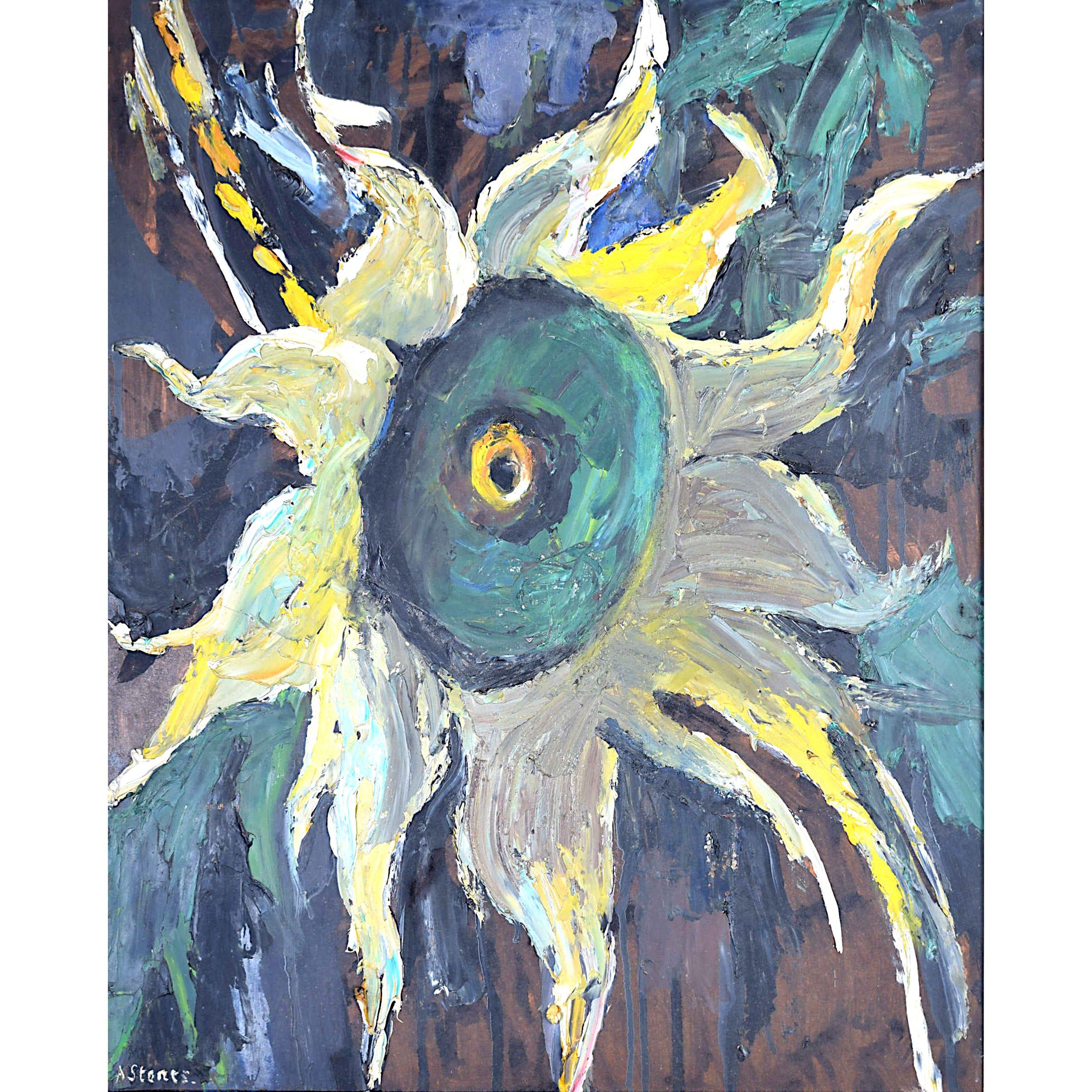 Angela Stones Helianthus Oil Painting Mid Century Modern British Art Surreal