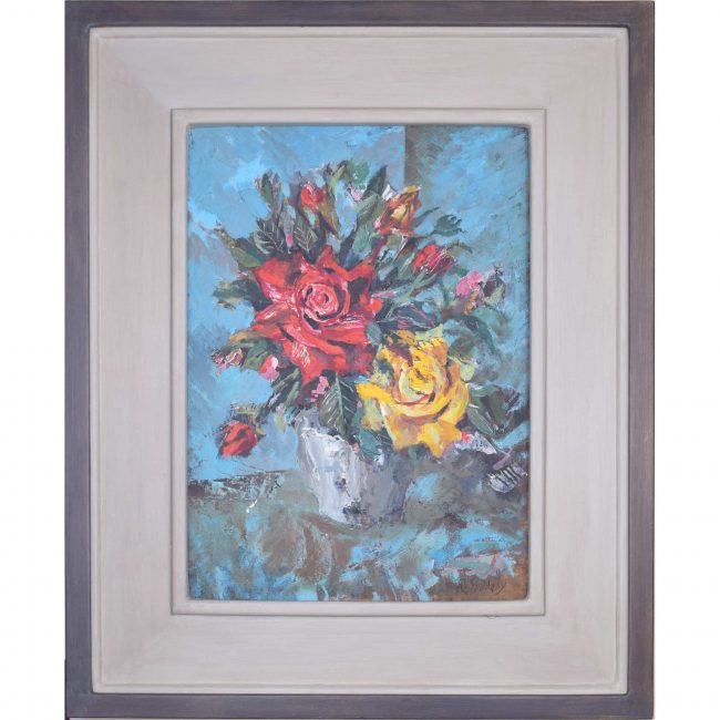 Rowland Suddaby English Roses Still Life oil painting Modern British Art Framed
