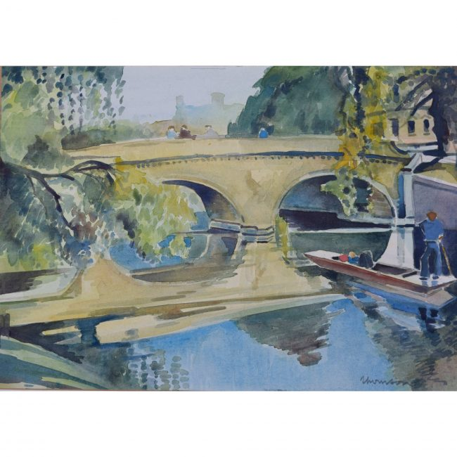 Trinity College Cambridge Bridge and River watercolour painting 20th Century