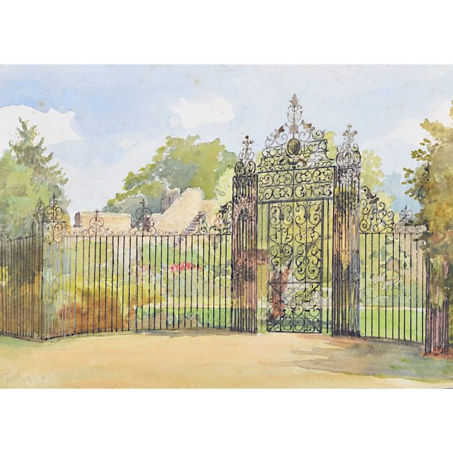 Tina Harwood The Gate New College Oxford 1934 Garden Watercolour painting