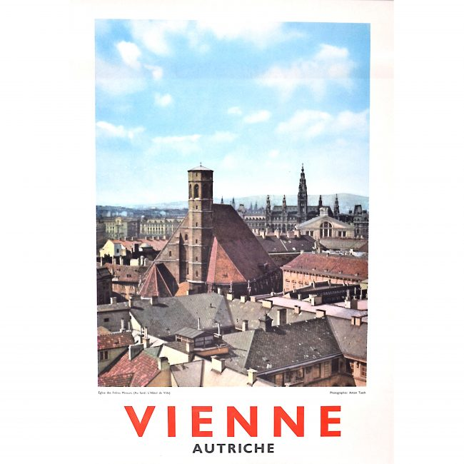 Original Vienna Austria Photographic Travel Poster Eglise des Freres Mineurs