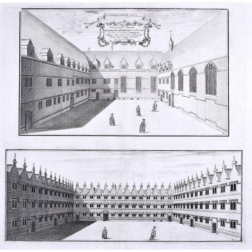 William Williams engraving of Jesus College Oxford c.1732 Collegium Jesu
