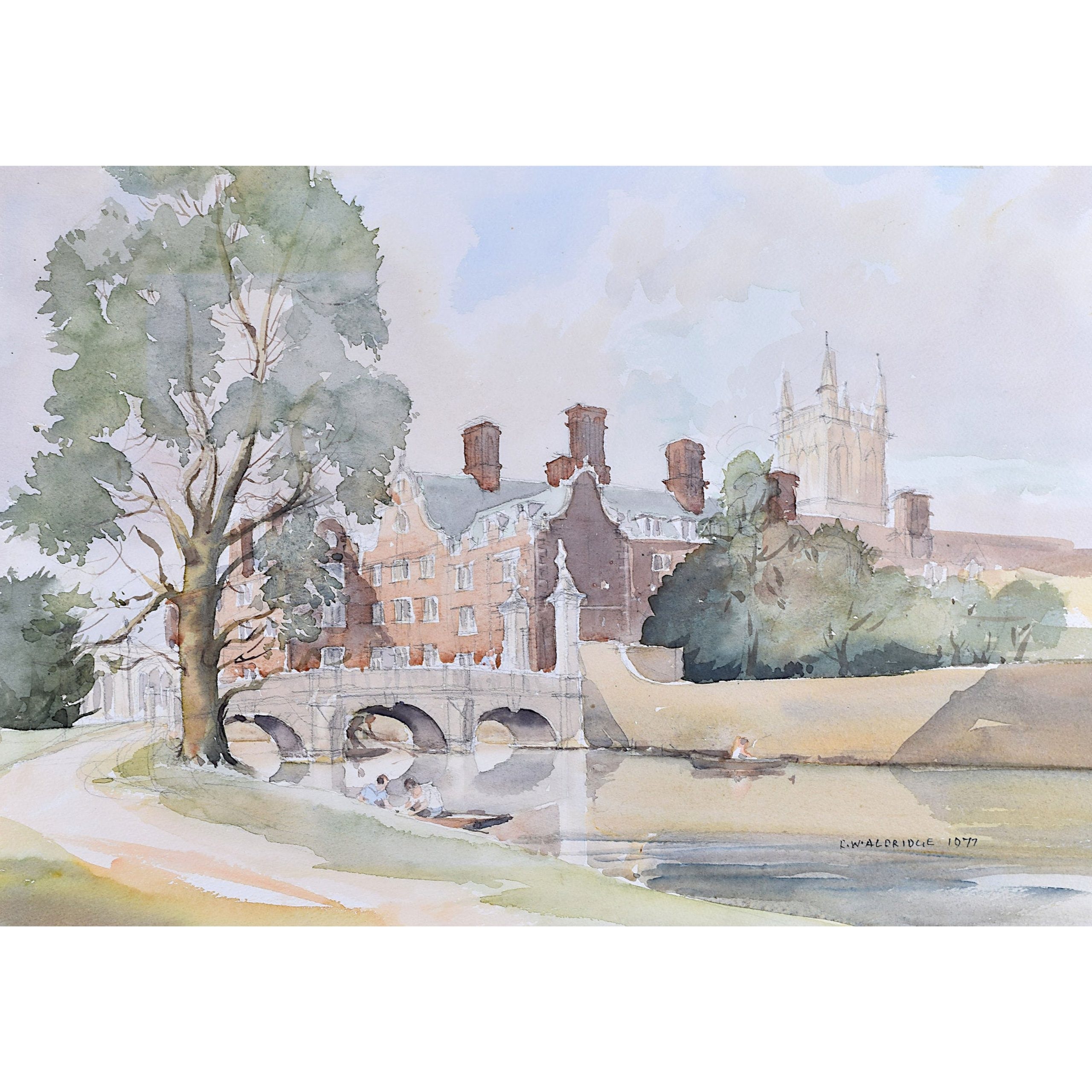 R Winton Aldridge St John's College Cambridge watercolour painting