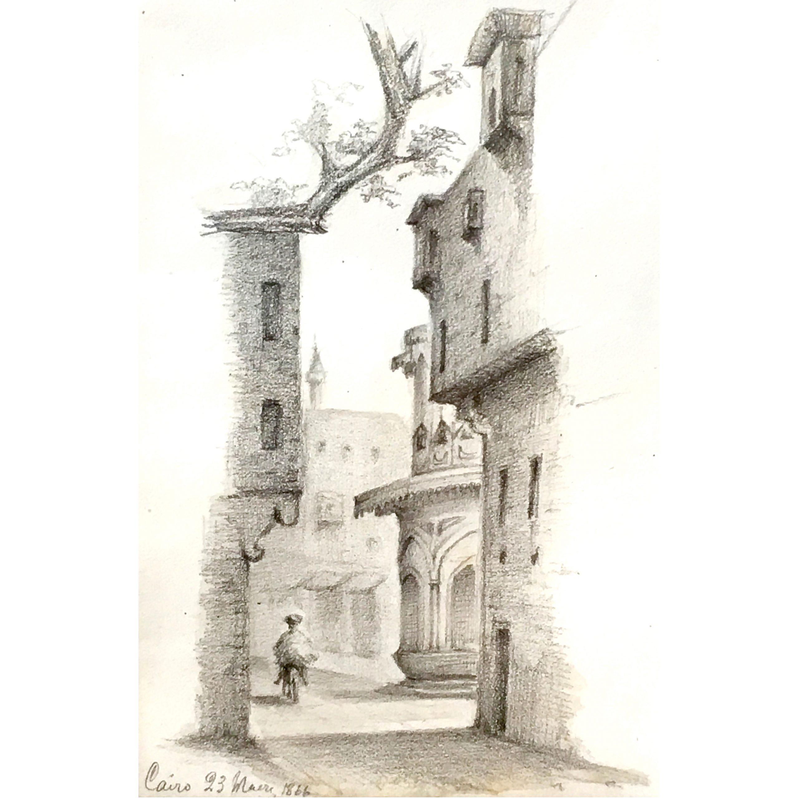 Oscar Andreae: Cairo Street Scene drawing 1866