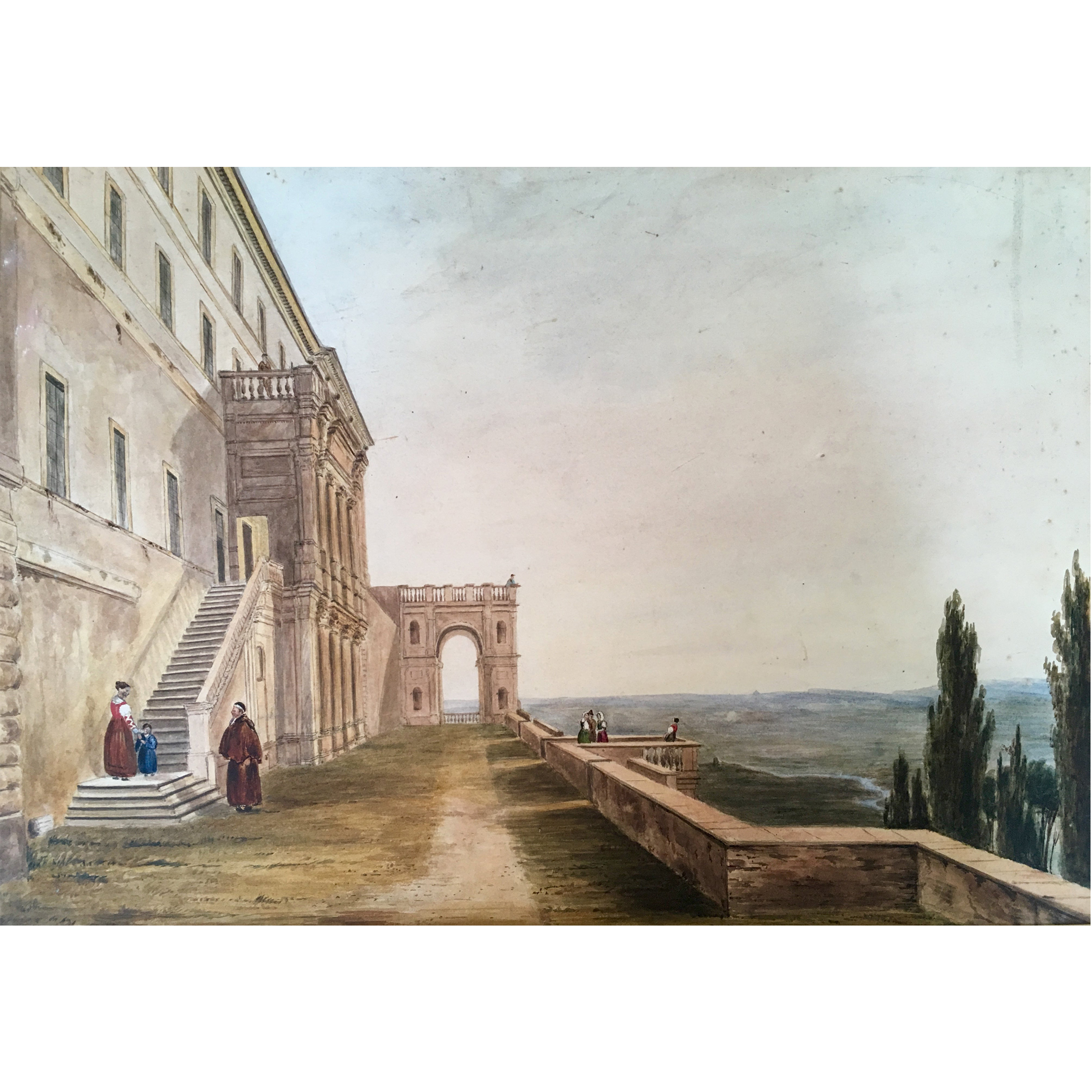 19th Century European watercolour 'View from an Italian Villa'