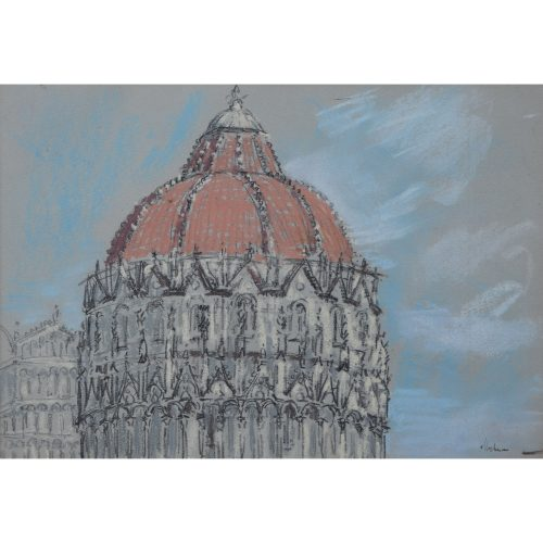 The Baptistry Pisa - Lord Paul Ayshford Methuen: Pastel Italy Modern British Art