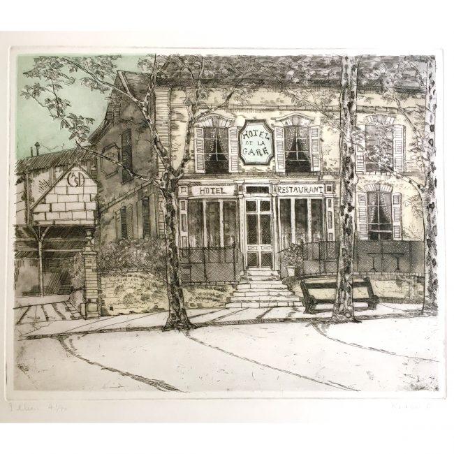 Richard Beer 'Hôtel de la Gare' coloured etching and aquatint