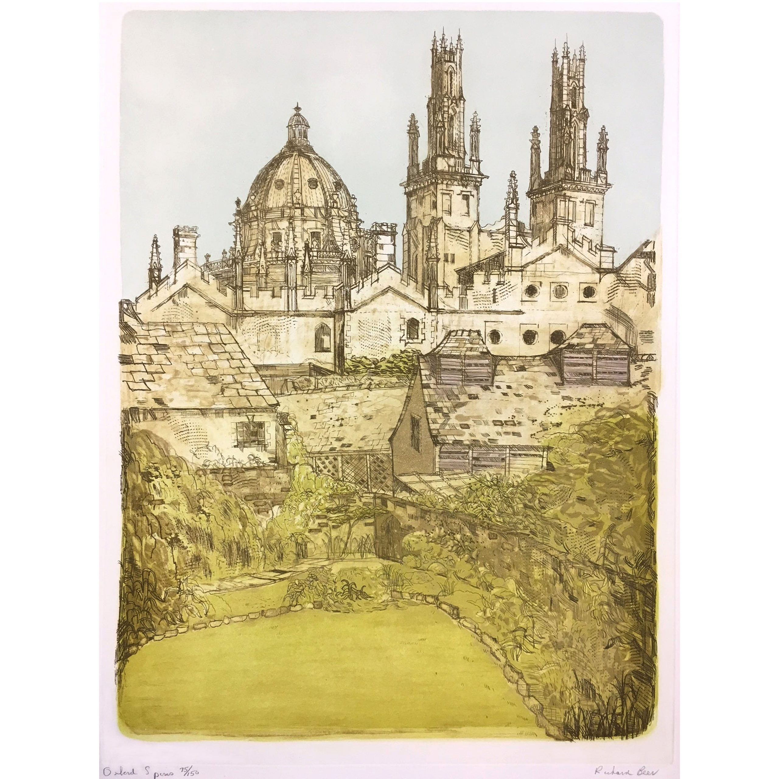 Richard Beer Oxford Spires etching print All Souls College Radcliffe Camera Art