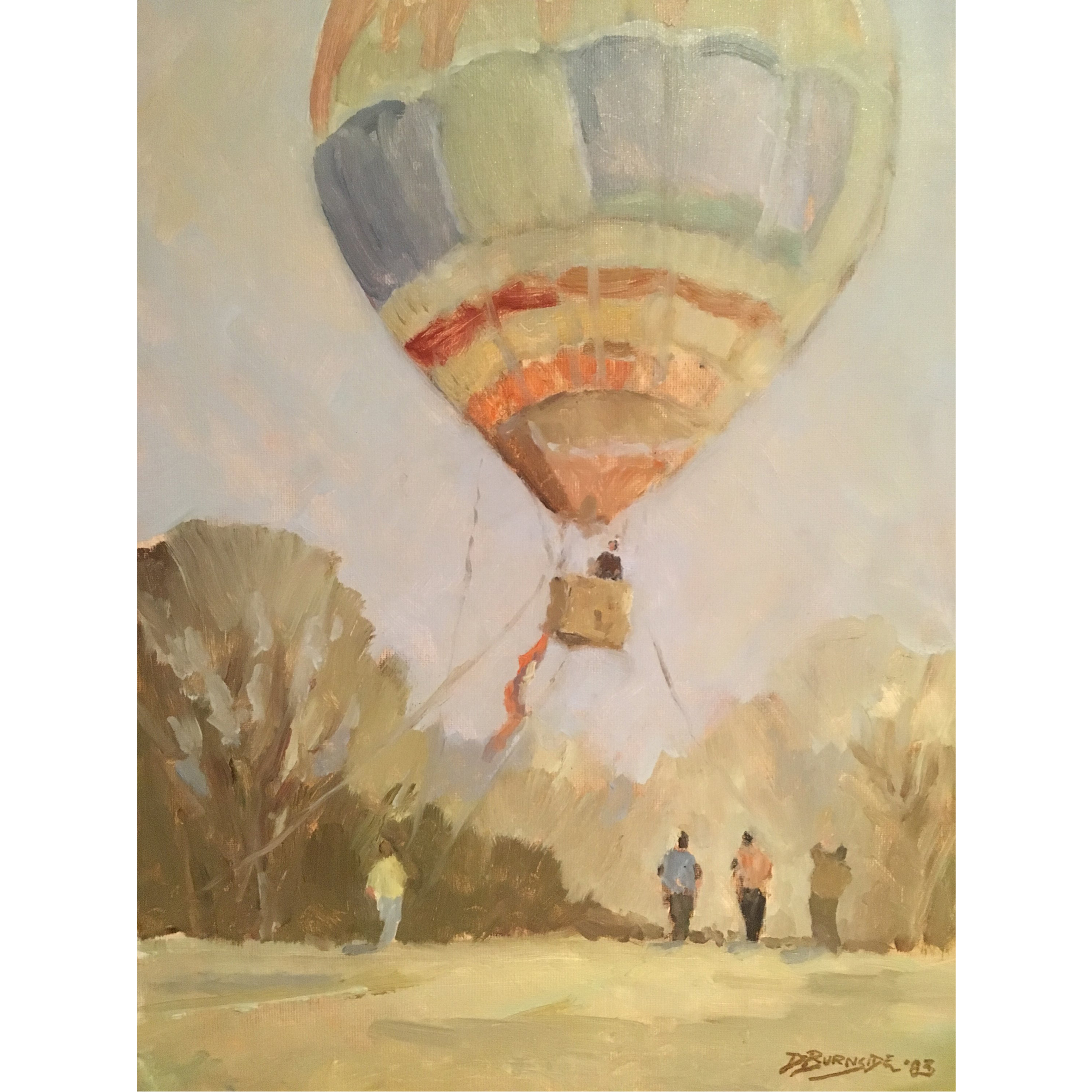 Dudley Burnside: Hot Air Balloon Rising - oil on board 1983