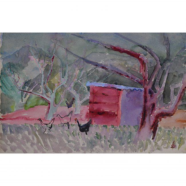 Clifford Ellis Corsham Court Hens Chicken Shed c. 1950 mid century watercolour