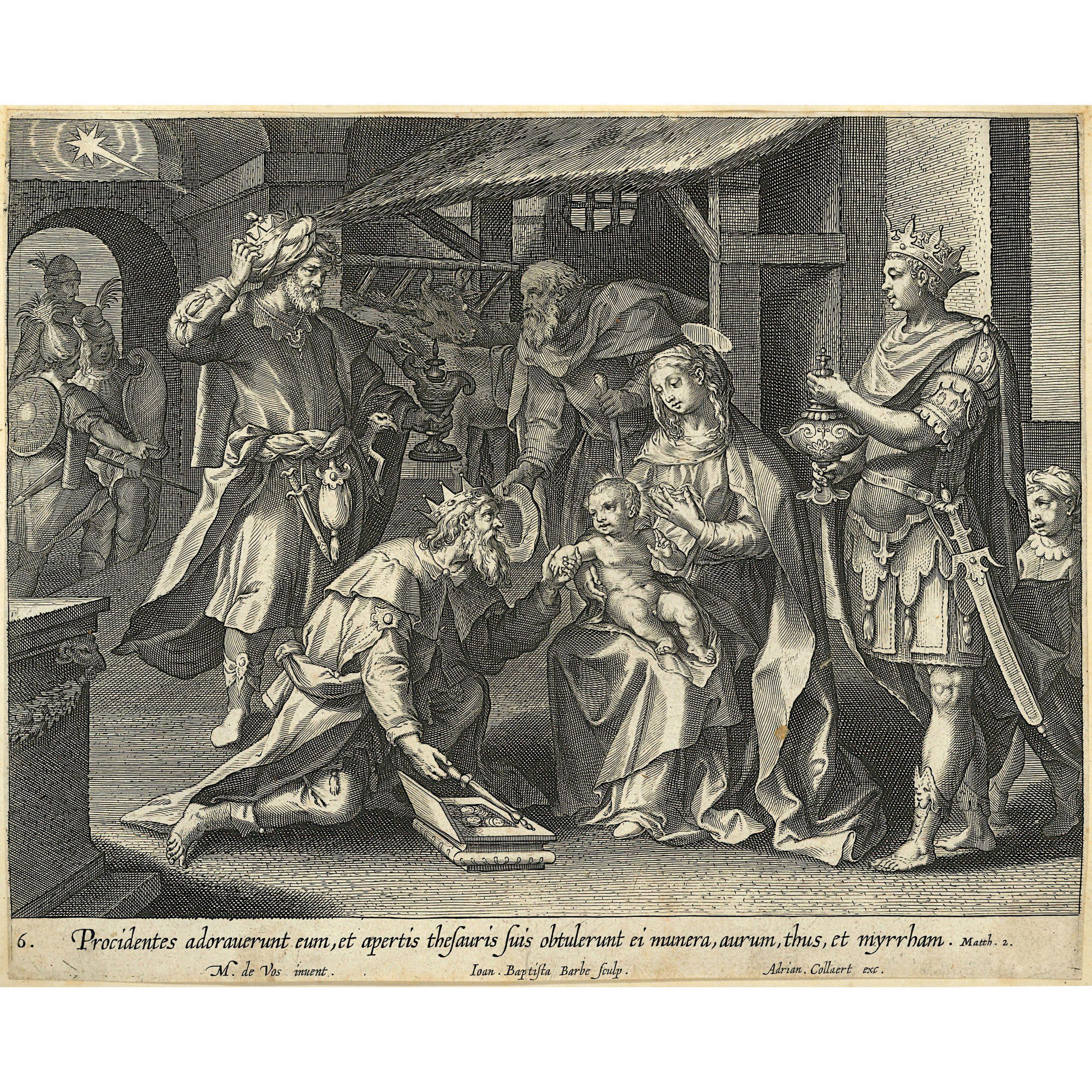Adrian Collaert 17th Century engraving Martin de Vos The Visitation of the Magi