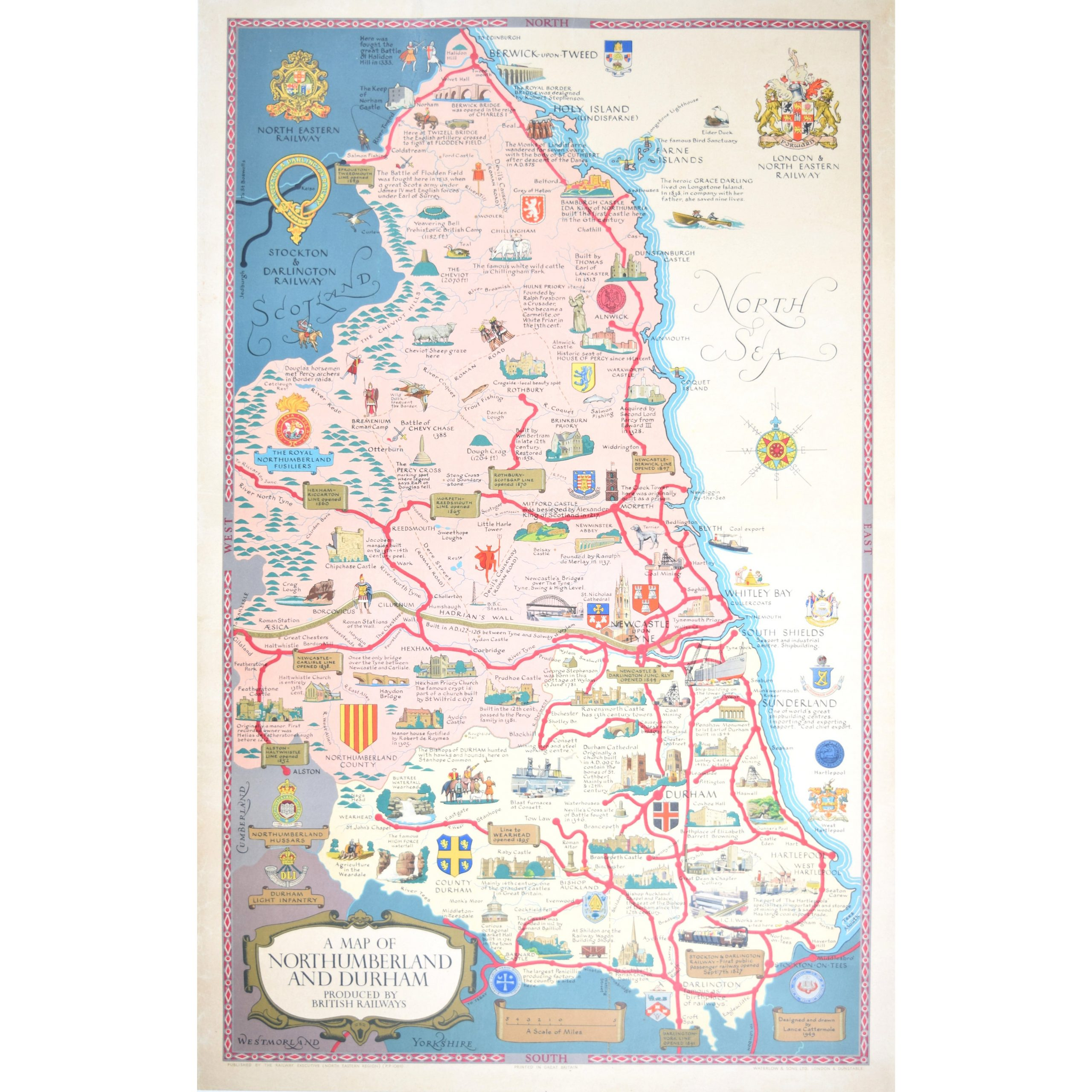 Lance Cottermole Original Poster Map Northumberland & Durham British Railways