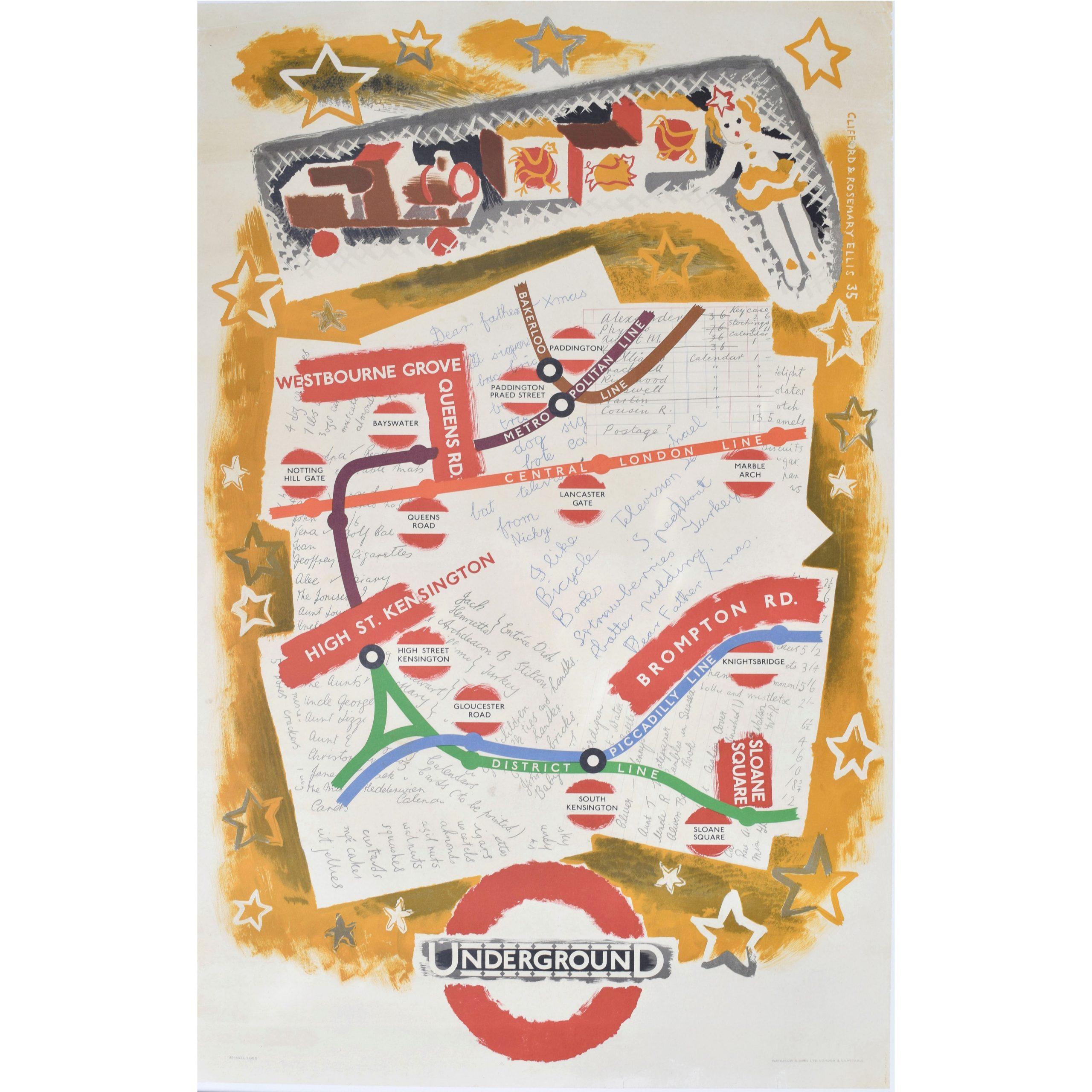 1935 London Transport Original Poster Christmas Shopping Clifford Rosemary Ellis