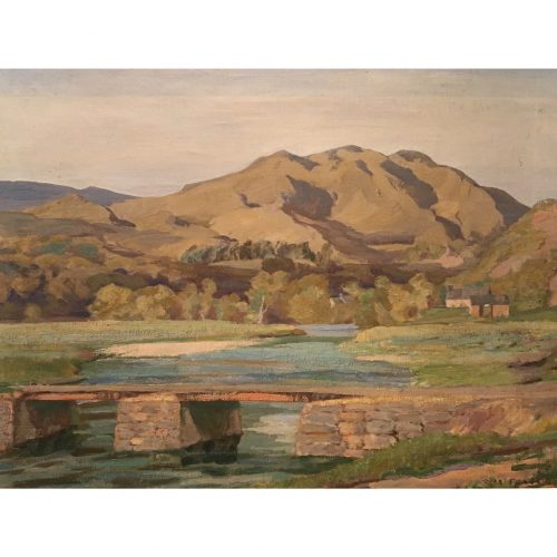Robert Macdonald Fraser: Landscape with Footbridge - oil on canvas