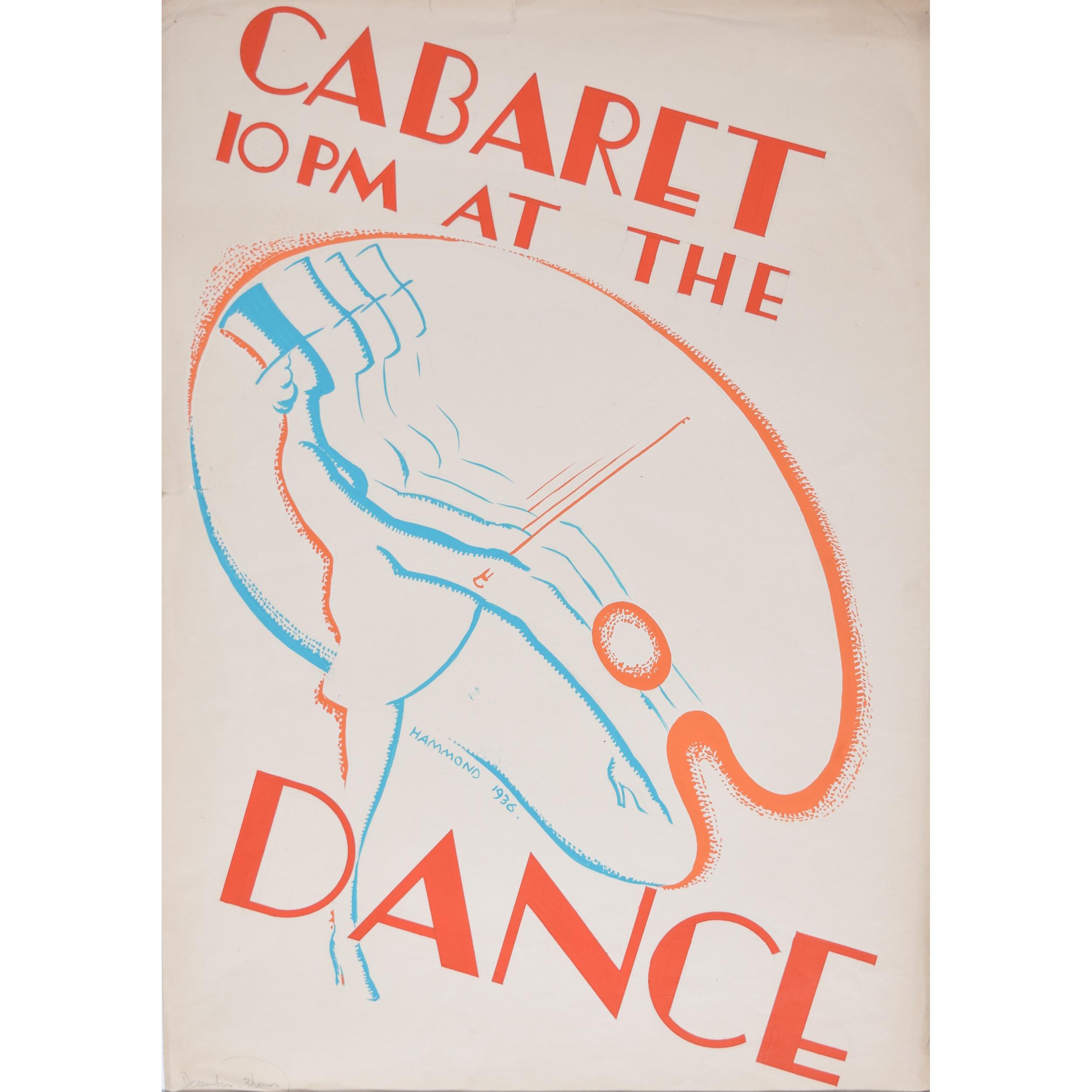 Art Deco gouache original artwork 1936 Cabaret Dance invitation