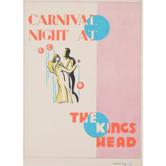 Art Deco gouache original artwork 1937 Carnival Night advertising poster design