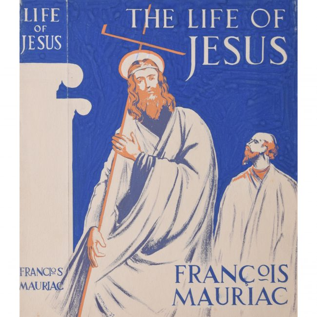 Art Deco gouache original artwork 1937 book jacket design Life of Jesus Mauriac