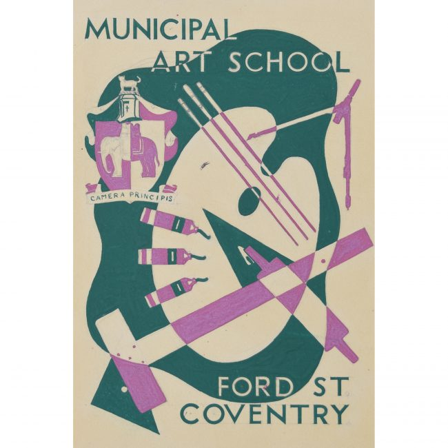 Art Deco gouache original artwork 1937 Municipal Art School Coventry Hammond