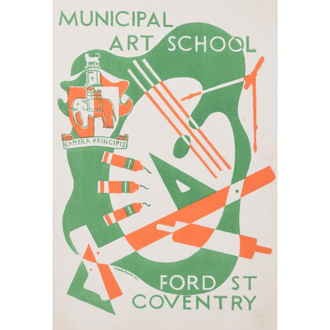 Art Deco lithograph design c. 1937 for Art School Brochure Hammond